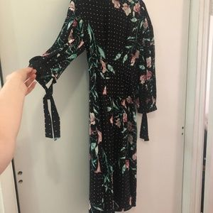 Midi Floral Dress With Tie Sleeves